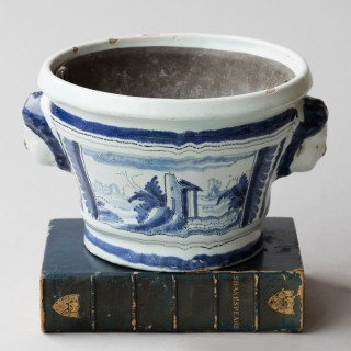 18TH CENTURY BLUE AND WHITE  CACHE POT WITH ZINC LINER