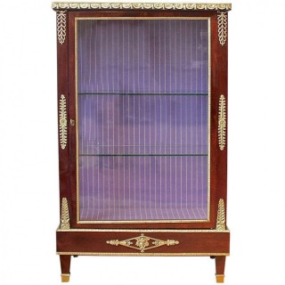 French Mahogany Gilt-Bronze Empire Style Display Cabinet, late 19th Century