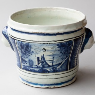 LARGE 18TH CENTURY BLUE AND WHITE FAIENCE CACHE POT