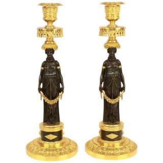 Pair of French Empire Ormolu and Patinated Bronze Candlesticks in the Manner of Claude Galle (1759-1815)