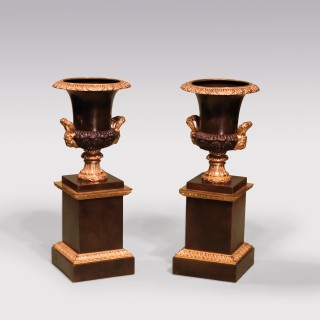 Pair Of Early 19th Century Regency Bronze And Ormolu Campana Urns