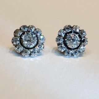 Old cut diamond cluster earrings