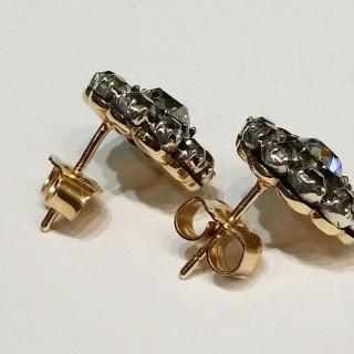 Old cut diamond cluster earrings