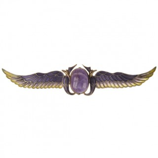 Gold-plated 800 Silver Brooch with Plique-à-jour & Amethyst-Scarab Art nouveau Germany ca. 1900
