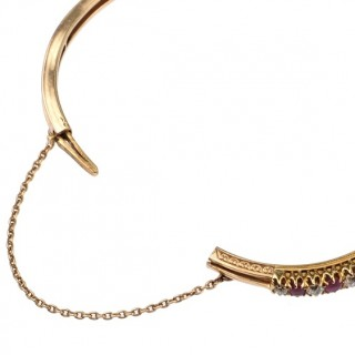 14 ct. Gold Bangle with Diamonds & Rubies, a Rubybangle from Germany approx. 1890