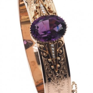 "4 ct. Gold Bangle with Amethyst & Pearls, signed ""Wilhelm Müller, Berlin"" from Historicism Germany approx. 1890"