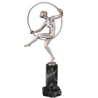 Art Deco bronze sculpture nude hoop dancer