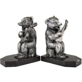 Art Deco bookends bear with guitar