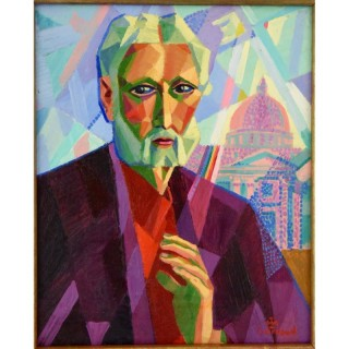 Cubist Art Deco painting man in Rome