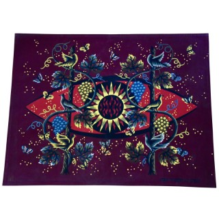 Mid Century Tapestry Sun, Birds And Vine