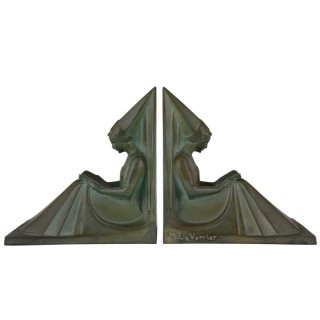 Art Deco bookends reading Medieval ladies