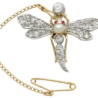 1.30 ct Diamond and Pearl, Ruby and 9 ct Yellow Gold 'Dragonfly' Brooch - Antique Victorian