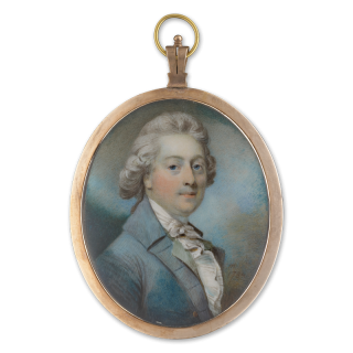 HORACE HONE A.R.A. (1754-1825) A Gentleman, wearing grey/ blue coat with white frilled shirt and cravat, his hair powdered, dated 1784
