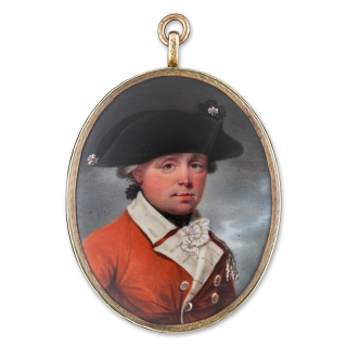 HENRY SPICER (1742/3–1804) Portrait enamel of an Officer, wearing tricorn hat with rosette, scarlet coat with buff facings and single epaulette, c.1785