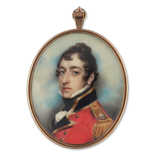ANDREW PLIMER (1763-1837) Lieutenant Thomas Gore of the Coldstream Guards, wearing a scarlet coat with blue lapels and facings, gold braid and epaulette with star badge, dated 1813