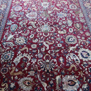 Rare exceptional antique Tehran carpet, silk highlights