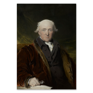 JOHN INIGO WRIGHT (d.1820), After SIR THOMAS LAWRENCE, P.R.A. (1769-1830) John Julius Angerstein (1735-1823), wearing brown fur-lined robe, black coat and white chemise