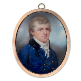 HENRY SPICER (1742/3–1804) Portrait enamel of an unknown Gentleman, wearing blue coat with brass buttons and black collar, c.1790