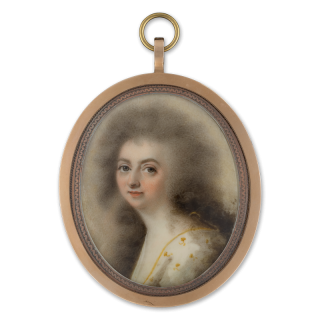 ABRAHAM DANIEL (d.1806) A Lady, wearing white dress flecked with gold, her hair worn long c.1785