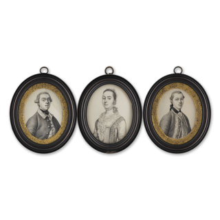 JAMES FERGUSON (1710-1776) Three portraits, including a portrait of James Caulfield, 1st Earl Charlemont (1728-1799); a young Gentleman, wearing jacket and waistcoat with braid border and a Lady, wearing dress with lace fichu and bonnet, c.1755
