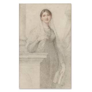 RICHARD COSWAY R.A. (1742-1821) A portrait drawing of a young Lady, wearing high-waisted gown and veil, a book in her hand, c. 1795