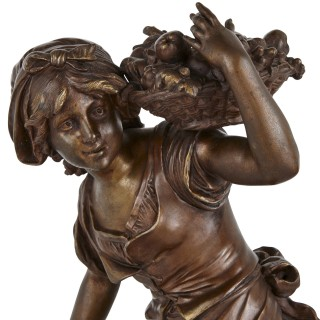 Two antique spelter female figures by Moreau
