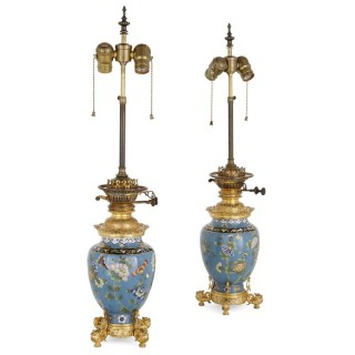 Two antique cloisonné enamel and gilt bronze lamps