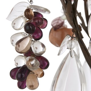 Chandelier with coloured rock crystal, quartz and glass fruit pendants