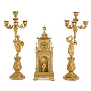 Chinoiserie cold painted and gilt bronze clock and candelabra