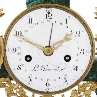 Louis XVI period malachite, gilt bronze and jasperware mantel clock