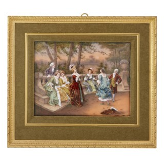 Limoges enamel painting in gilt metal frame