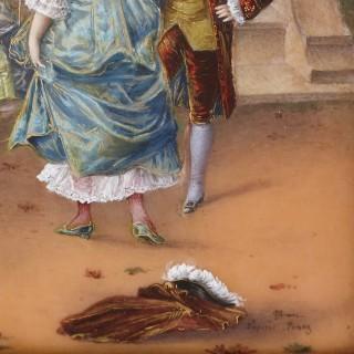 Limoges enamel painting in gilt metal frame
