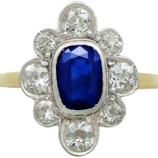 1.70ct Sapphire and 2.10ct Diamond, 18ct Yellow Gold Cluster Ring - Antique Circa 1930