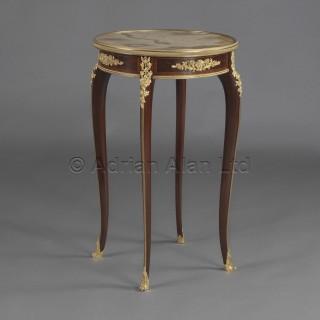 A Louis XV Style Mahogany Parquetry Gueridon