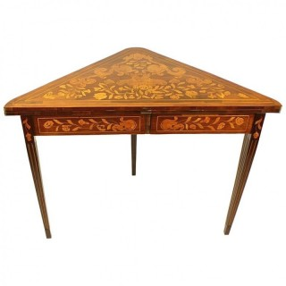 Early 19th Century Dutch Mahogany and floral Marquetry Game Table
