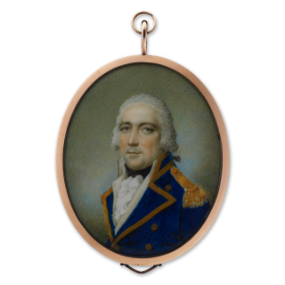 SAMUEL SHELLEY (1750-1808) A Gentleman, traditionally called Archibald Cochrane, 9th Earl of Dundonald (1748-1831), in naval uniform, his hair powdered, circa 1790