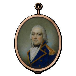 SAMUEL SHELLEY (1750-1808) A Gentleman, traditionally called Archibald Cochrane, 9th Earl of Dundonald (1748-1831), in naval uniform, his hair powdered, circa 1790