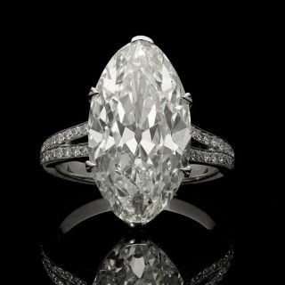 Hancocks 8.31ct Antique Moval cut Diamond Ring with Diamond and Platinum Setting