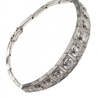 Art déco Platinum Bracelet with Diamonds in Old-brilliant-cut, approx. 1925 Platinumbracelet