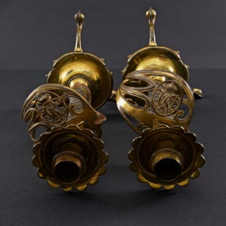 Pair of Victorian British Army Sword Hilt Candlesticks with Royal Monogram, circa 1905