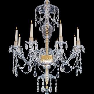 A FINE GEORGE III EIGHT LIGHT CUT GLASS CHANDELIER