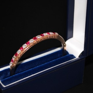 15ct Yellow Gold Edwardian Ruby & Diamond Bangle, Circa 1905