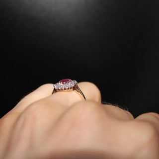 18ct Yellow Gold Oval Natural Ruby & Diamond Cluster Ring, Circa 1955