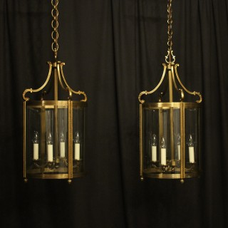 French Pair Of Bronze Antique Hall Lanterns