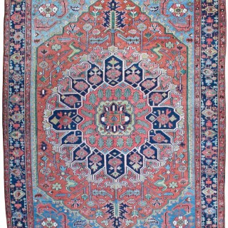 Rare small size antique Heriz carpet