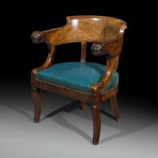 French Empire Mahogany Desk Armchair