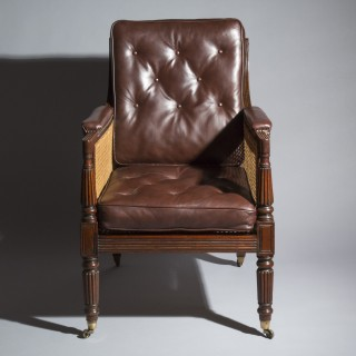 Regency Mahogany Library Armchair, attributed to Gillows