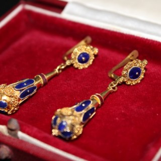 Pair of Victorian High Carat Gold Blue and Red Enamel Drop Earrings. Circa 1860