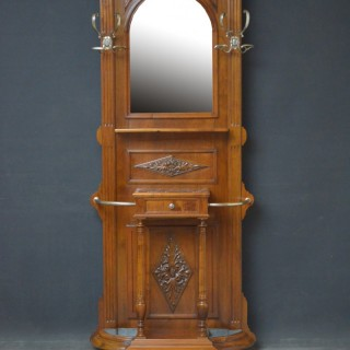 Turn of The Century Walnut Hall Stand