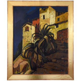 Art Deco painting Italian village with palm tree